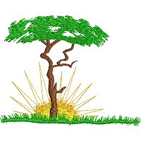 Embroidery design of a lone tree on the African plains with the sun rising behind the treeMasai man .jpg