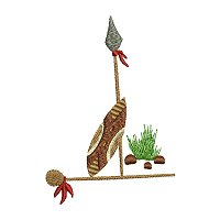 Embroidery design of a Maasai spear, shield and club.jpg