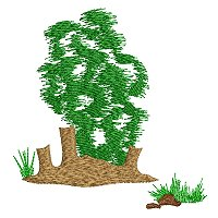 Embroidery design of a termite mound and tree as part of the African savanna landscape.jpg
