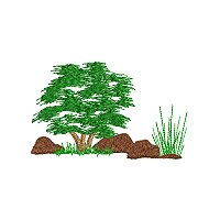Embroidery design of some trees amongst some rocks.jpg