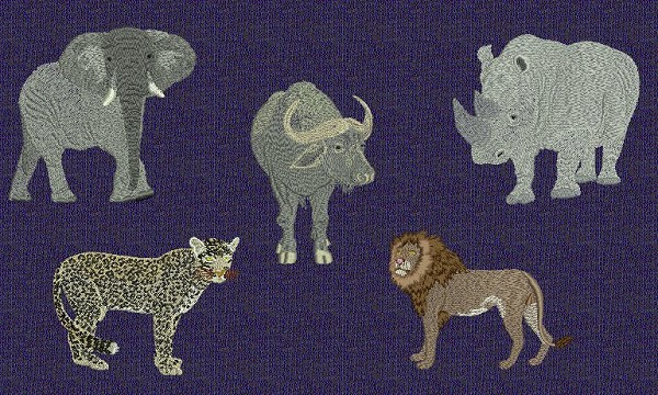 African Animals Embroidery Designs Including The Big Five